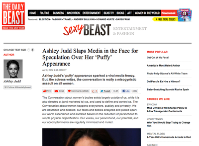 Ashley Judd Slaps Media in the Face for Speculation Over Her 'Puffy' Appearance